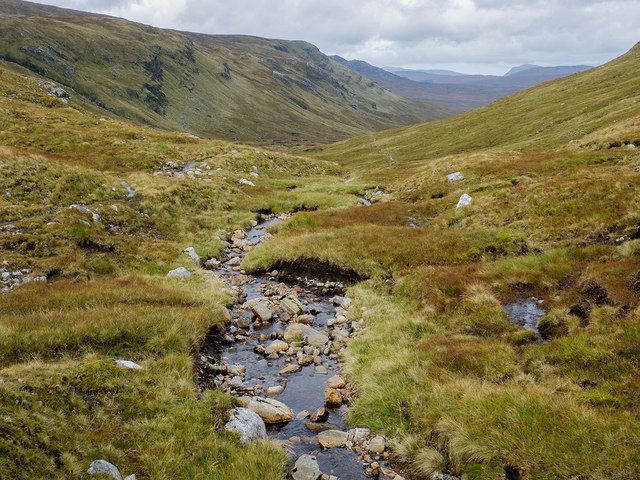 Looking down the Allt Breabaig glen