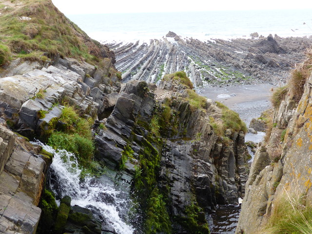 Waterfall and wave-cut platform, Welcombe Mouth