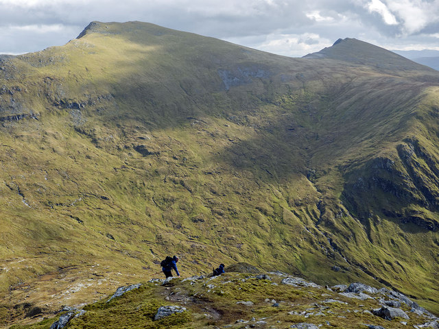 Two hill walkers descending the SE ridge of Sgurr Breac