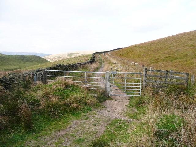 Gate on the bridleway along the Windy Hills ridge