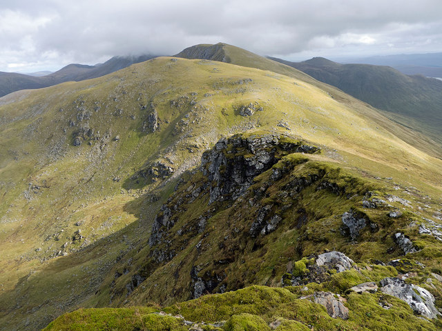 Looking east along the Western Fannich ridge on the ascent of A' Chailleach