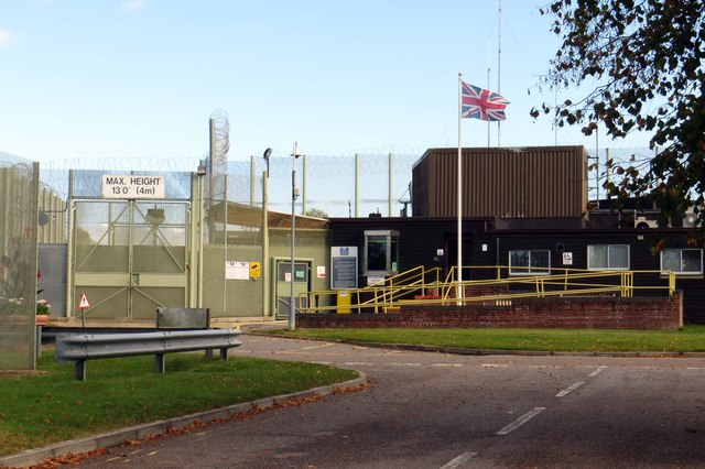 The entrance to HMP Huntercombe