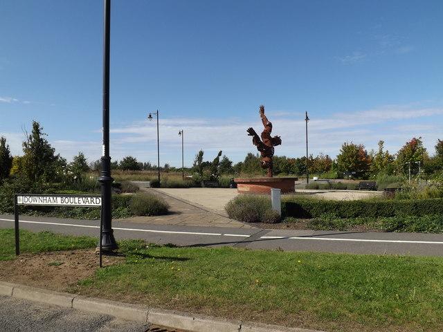 Downham Boulevard sign & Handstanding Sculpture