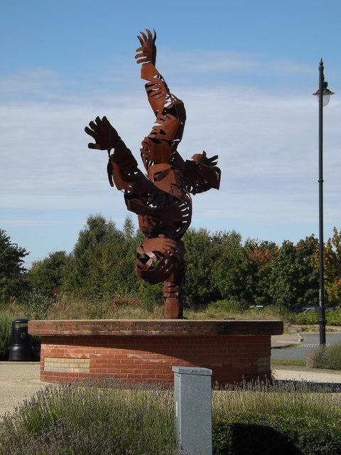 Handstanding Sculpture off Downham Boulevard
