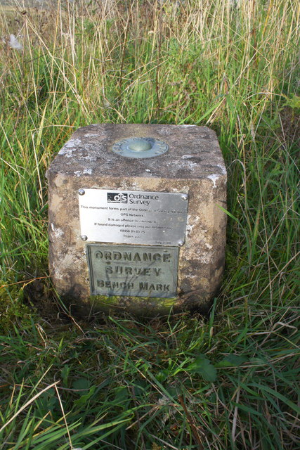 Benchmark on bank beside A685