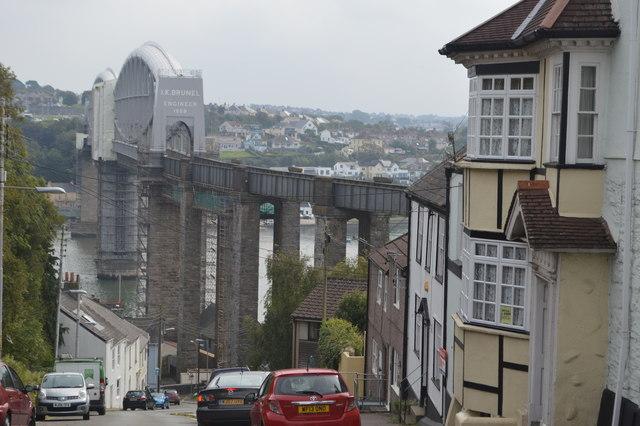 View down Fore Street to the Saltash Bridge