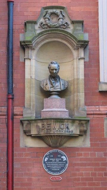 Bust of Thomas Bewick, Milburn House, Amen Corner, NE1
