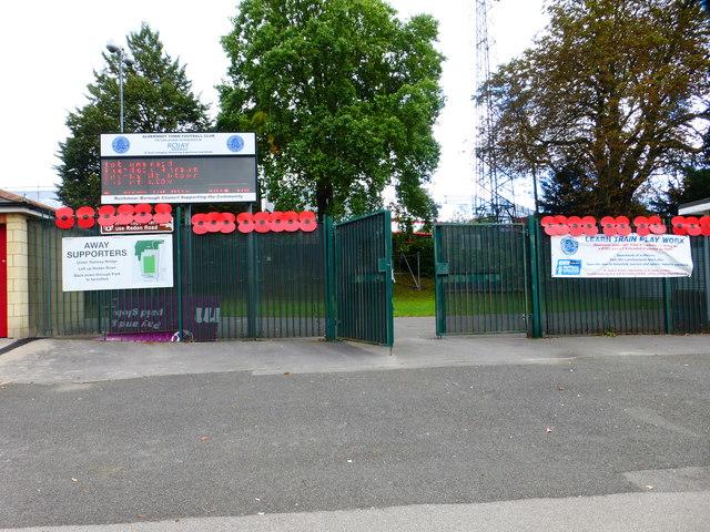 Entrance to Aldershot Town FC ground