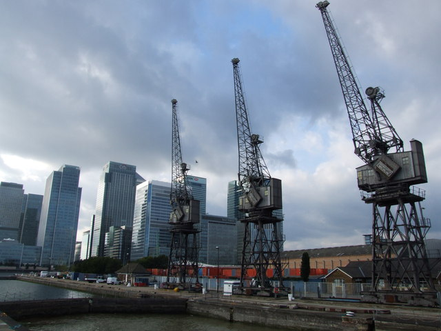Cranes at the entrance to West India Docks