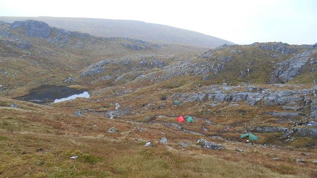 Wild camp on bealach between Eididh nan Clach Geala and Meall nan Ceapraichean