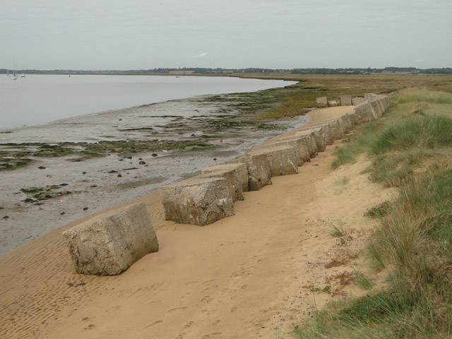 Two dozen tank-trap blocks at Bawdsey