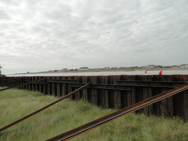 Sea defences at Bawdsey with Felixstowe Ferry over the water