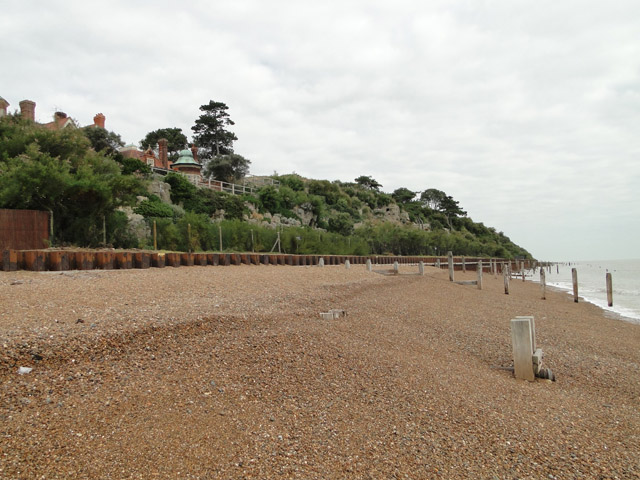 Shingle beach at Bawdsey with the Manor on the left