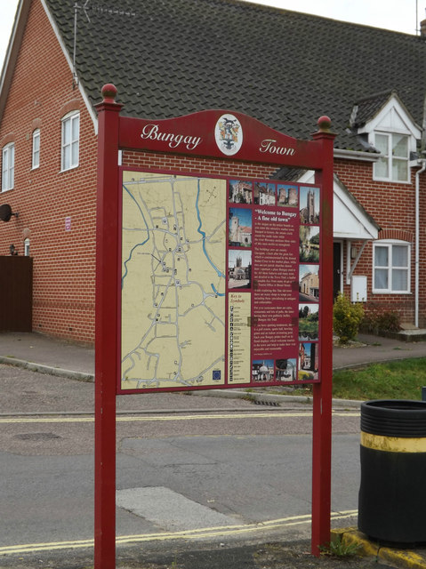 Bungay Town Map off Priory Lane