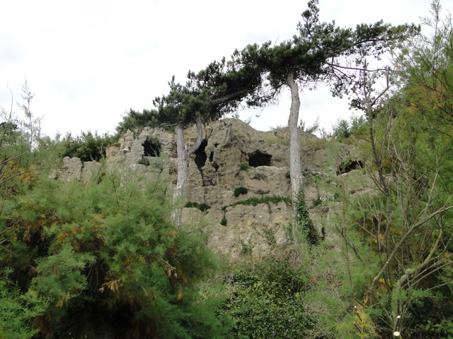 Observation posts in the concrete cliff