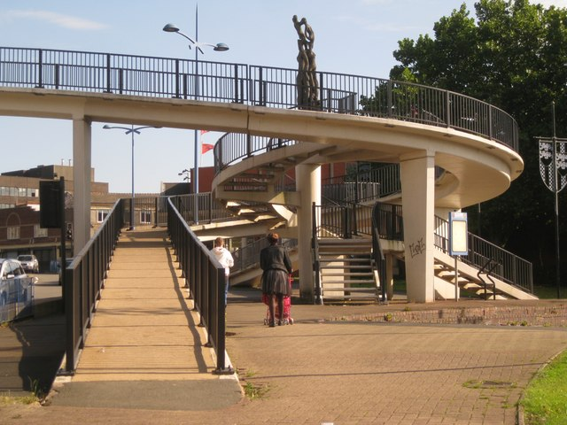 Every which way – footbridge steps and ramps, King Street, Dudley