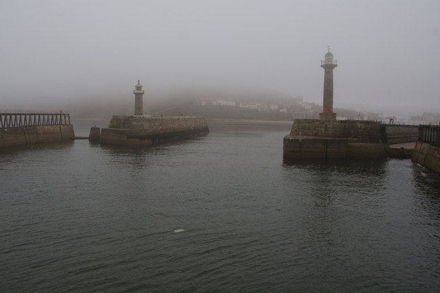 The entrance to Whitby Harbour