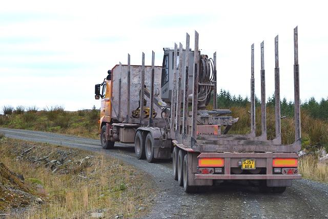 Empty log lorry