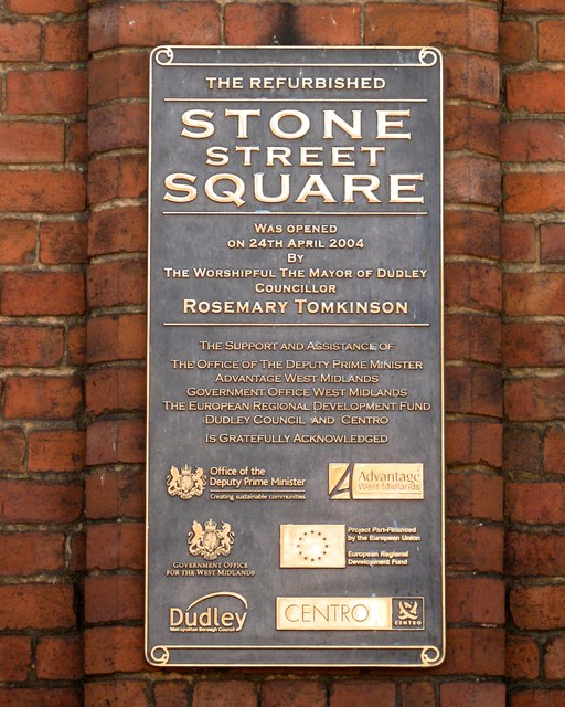 Plaque recording the opening of the refurbished Stone Street Square, Dudley