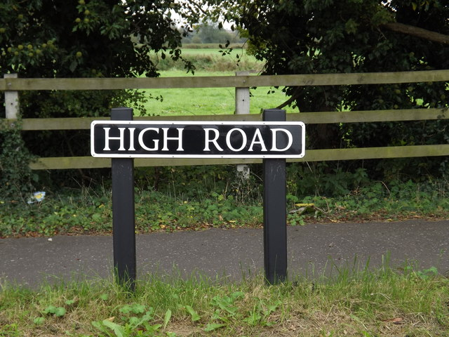 High Road sign