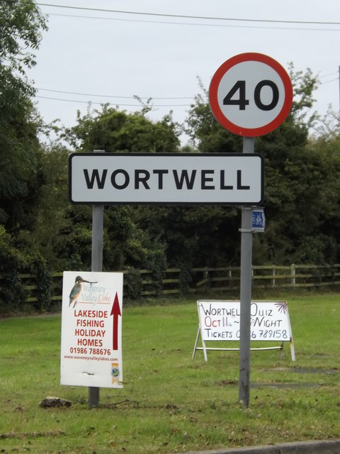 Wortwell Village Name sign on High Road