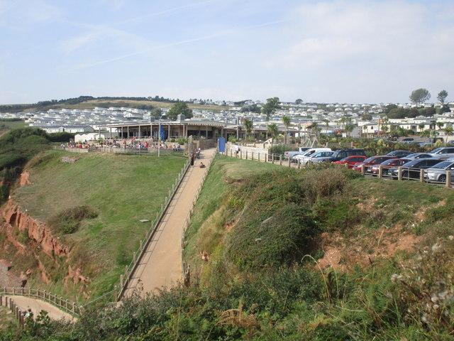 Beach access and Devon Cliffs Holiday Park