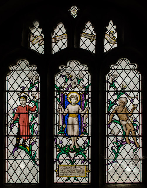 Stained glass window, St Dunstan's church, Mayfield