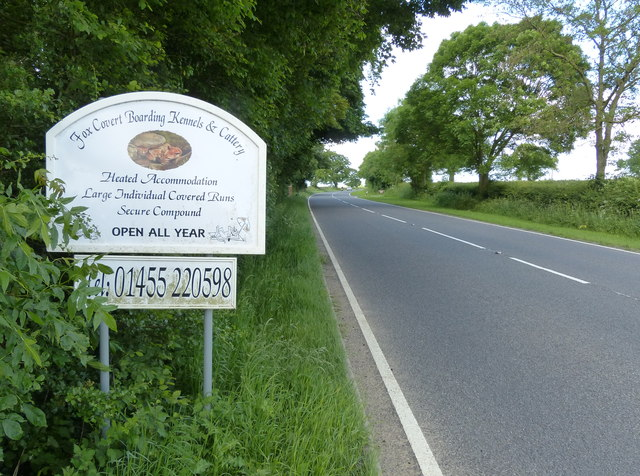 Sign along the B4065 Leicester Road