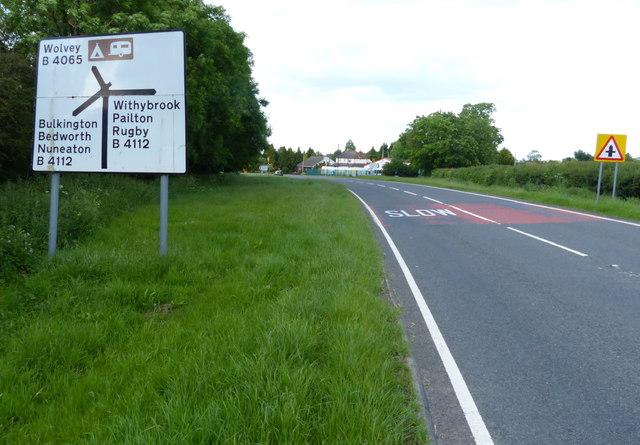 The B4065 approaching the Five Ways crossroads