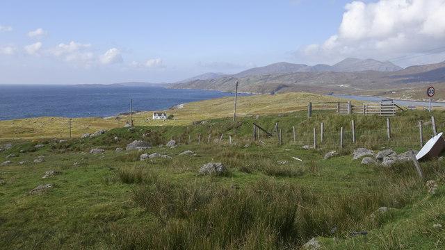 View across fields towards Loch A Siar