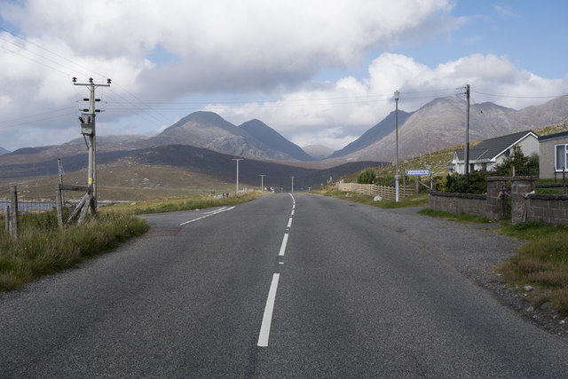 The A859 at Àird Asaig and view towards North Harris