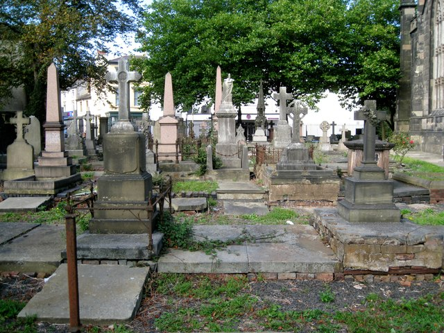 Memorials in the churchyard of St Thomas's parish church by High Street, Dudley