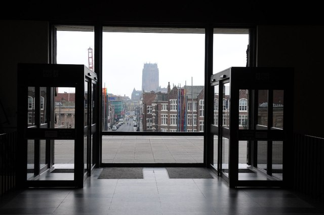 View through the entrance of Liverpool Metropolitan Cathedral