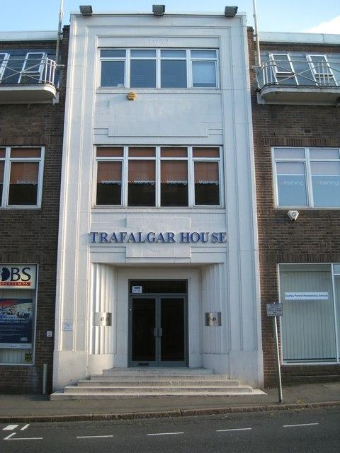 Trafalgar House, 47-49 King Street, Dudley, façade at entrance