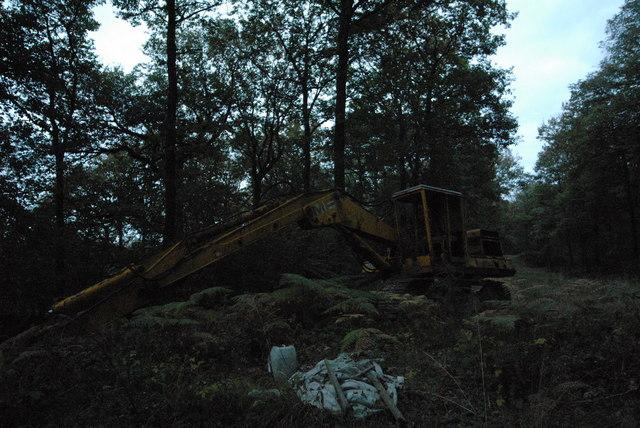 Abandoned digger in Barnett Wood