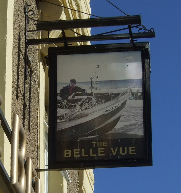 Sign for the Belle Vue, Filey