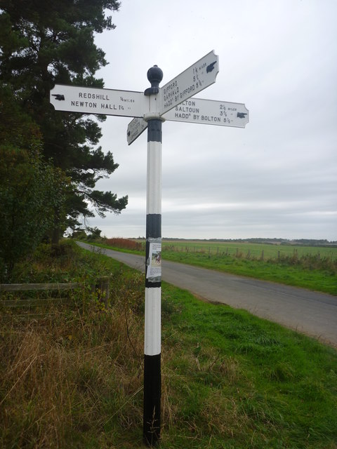 East Lothian County Council Fingerposts : Redshill Crossroads