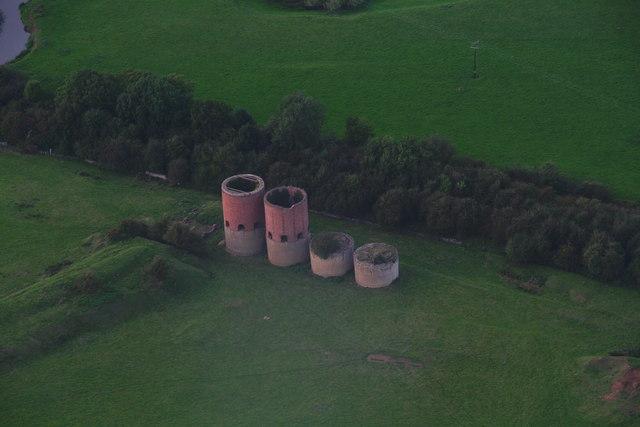 Calcining kilns near Wakerley: aerial 2014