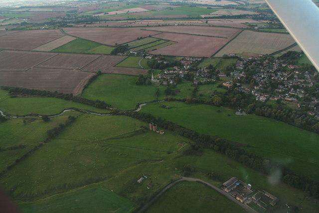 Calcining kilns near Wakerley: River Welland, disused railway and Barrowden village (aerial 2014)