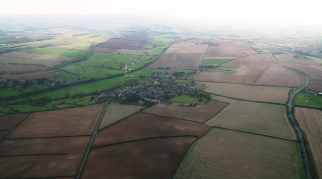 River Welland, disused railway and Barrowden village (aerial 2014)