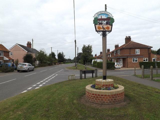 High Road & Wortwell Village sign