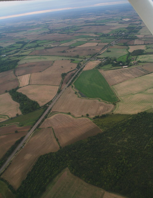 East Coast Main Line from Careby Wood to Careby: aerial 2014