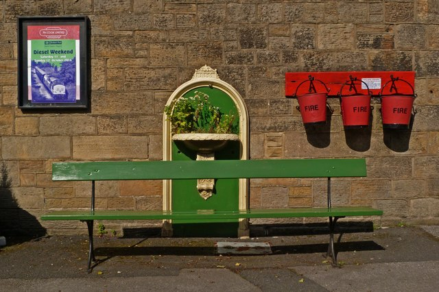Bench, water fountain, and fire buckets, Embsay Station