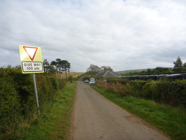 Rural East Lothian : Approaching Marvingston Crossroads From The NW