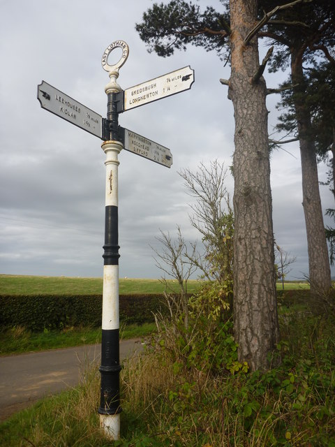 Rural East Lothian : ELCC Fingerpost And Scots Pines At Marvingston Crossroads