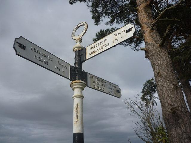 East Lothian County Council Fingerposts : Marvingston Crossroads