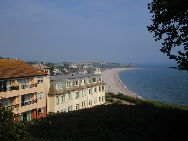 View over the beach at Budleigh Salterton