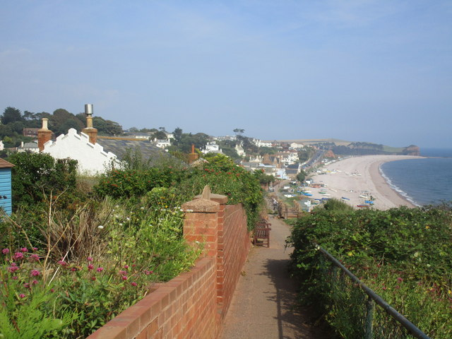 Approaching the beach at Budleigh Salterton