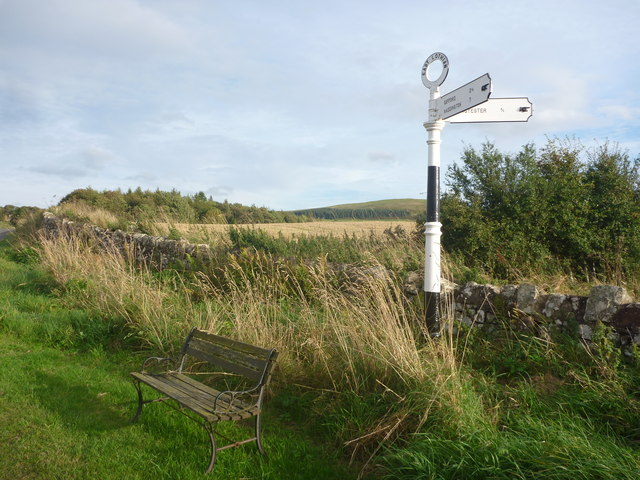 Rural East Lothian : Bench And Fingerpost At Baxtersyke