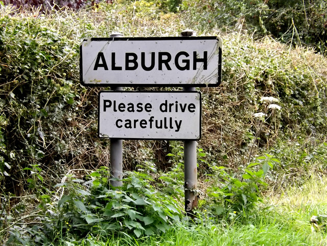 Alburgh Village Name sign on Low Road